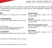 ABC GROUP END OF YEAR OFFICE HOURS